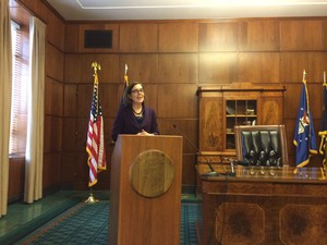 Oregon Governor Kate Brown announces details of her 2017-19 budget proposal during a press conference at the state capitol.