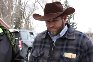 Ammon Bundy at the Malheur National Wildlife Refuge on Jan. 3, 2016. Bundy began testimony in the trial of seven occupiers of the Malheur refuge Tuesday, Oct. 4, 2016.