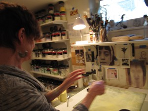 "Catharine Newell in her home studio. She says her transition into fused glass has been nothing short of ""transformative"", and she credits Bullseye for making it possible."