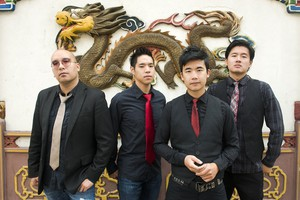 "The Slants (left to right: Joe X Jiang, Ken Shima, Tyler Chen, Simon ""Young"" Tam, Joe X Jiang). The band has toured and released several albums as the trademark dispute has unfolded."
