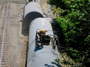 Cleanup efforts continued on Monday, June 6, 2016, at the site of an oil train derailment in Mosier, Oregon.