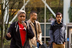 Teressa Raiford speaks at a Don't Shoot PDX-organized rally on Portland State University's campus.
