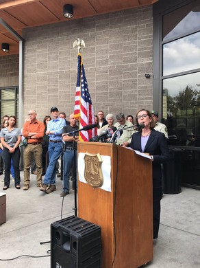 Oregon Gov. Kate Brown speaks at a press conference about the Eagle Creek Fire, Saturday, Sept. 9, 2017, in Troutdale, Oregon.