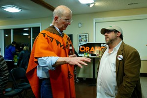 Port of Vancouver commissioner candidate Don Orange (left) at his election night party, Tuesday, Nov. 7, 2017.
