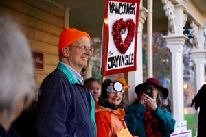 Port Commissioner Don Orange joined opponents of the Vancouver Energy oil terminal at a rally to celebrate Gov. Jay Inslee's decision to reject the terminal proposal.