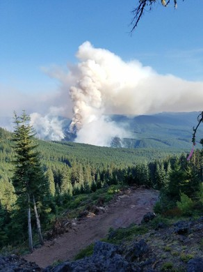 The Whitewater Fire burns in the Mount Jefferson Wilderness.