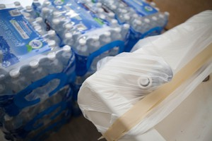 A covered drinking fountain sits next to cases of bottled water at Llewellyn Elementary in Sellwood, a neighborhood in Southeast Portland. Portland Public Schools shut off water to all of its schools following the discovery of high lead levels in the water at two buildings in the district.