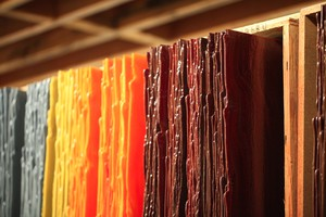 A variety of metals are used to make colored glass sheets for artists to use in their work.