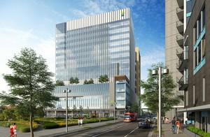 Artists rendering of OHSU's new the 14-story health care center.