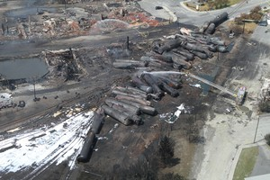 Aerial view of charred freight train in Lac-Megantic, Quebec, Canada. The photo was taken the day after the train of crude oil derailed in 2013. It claimed 47 lives.