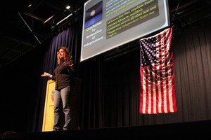 KrisAnne Hall encouraged an audience of about 170 in Prineville on April 19, 2016, to stand up to the federal government and defend states' rights.
