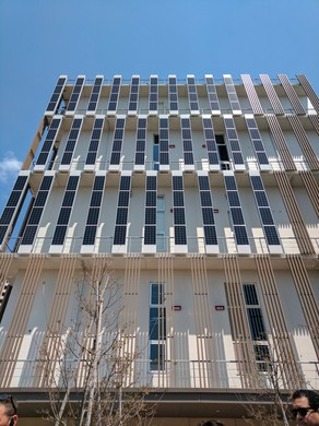 """A building in the Japanese """"smart city"""" of Kashiwanoha features vertical solar panels."""