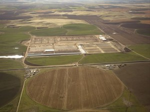 Aerial photo during construction of Lost Valley Farms in 2016.