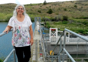Bureau of Reclamation Klamath District Manager Therese O'Rourke Bradford at the Link River Dam, which controls water flow out of Upper Klamath Lake in Oregon.