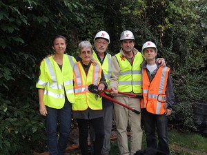 The five climate activists arrested after shutting down Canada-to-U.S. pipelines pose for a photo. They were identified by Climate Direct Action as (left to right): Emily Johnston, Annette Klapstein, Leonard Higgins, Ken Ward, and Michael Foster.