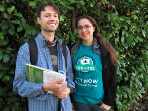 Ben Silesky and Sydney Allen go door to door to raise awareness and support for 2016's Initiative 732, which would put a tax on carbon emissions in Washington.