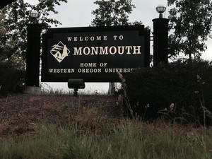 Western Oregon University has about 6,200 students. The population of Monmouth, OR is about 9,500.