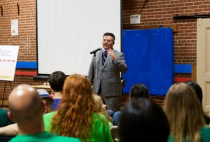 Portland Public Schools Superintendent Guadalupe Guerrero speaking at a community meeting with ACCESS Academy parents and teachers on Oct. 17, 2017.