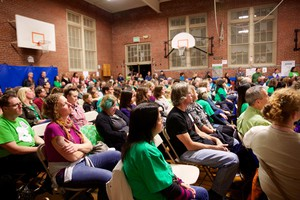 A gym full of ACCESS Academy parents squeeze into the Rose City Park school to talk with district leaders about the ACCESS Academy on Oct. 18, 2017.