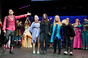 """Playwright Jeff Whitty and cast members of """"Head Over Heels"""" welcome members of The Go-Go's onstage. """"Head Over Heels"""" incorporates Go-Go's songs into an Elizabethan setting."""