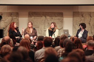 Suzy Vitello, Lidia Yuknavitch, Chelsea Cain and April Baer at Wordstock in the Portland Art Museum's Field Ballroom.