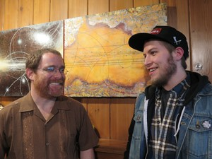 Greg Ewer (left), artistic director of 45th Parallel and violinist with the Oregon Symphony, and Tristan Bliss (right), musician, composer, and sometime reviewer for Oregon Arts Watch.