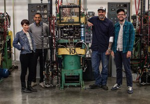 From left, Cascade's assistant plant manager Amy Dragon, mastering engineer Adam Gonsalves, COO Mark Rainey, and CFO Steve Lanning.