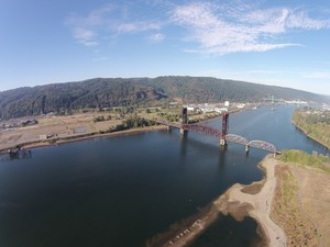 A partial aerial view of the cleaned up McCormick and Baxter site along the Willamette River.