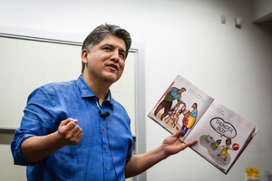 "Sherman Alexie reads from his book, ""Thunder Boy Jr.,"" at the RED INK Indigenous Initiative for All at Arizona State University, Tempe, April 22, 2016."