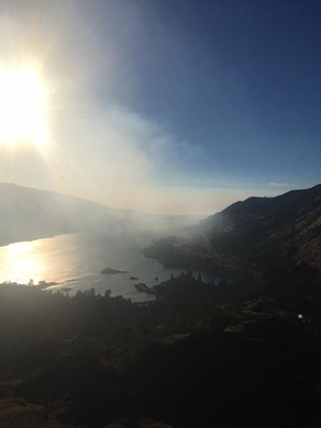 Smoke from a fire nearMemaloose State Park fills the Columbia River Gorge.