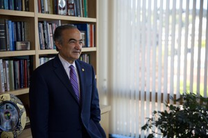 Portland State University president Rahmat Shoureshi looks out from his office, atop one of the campus' newer buildings.