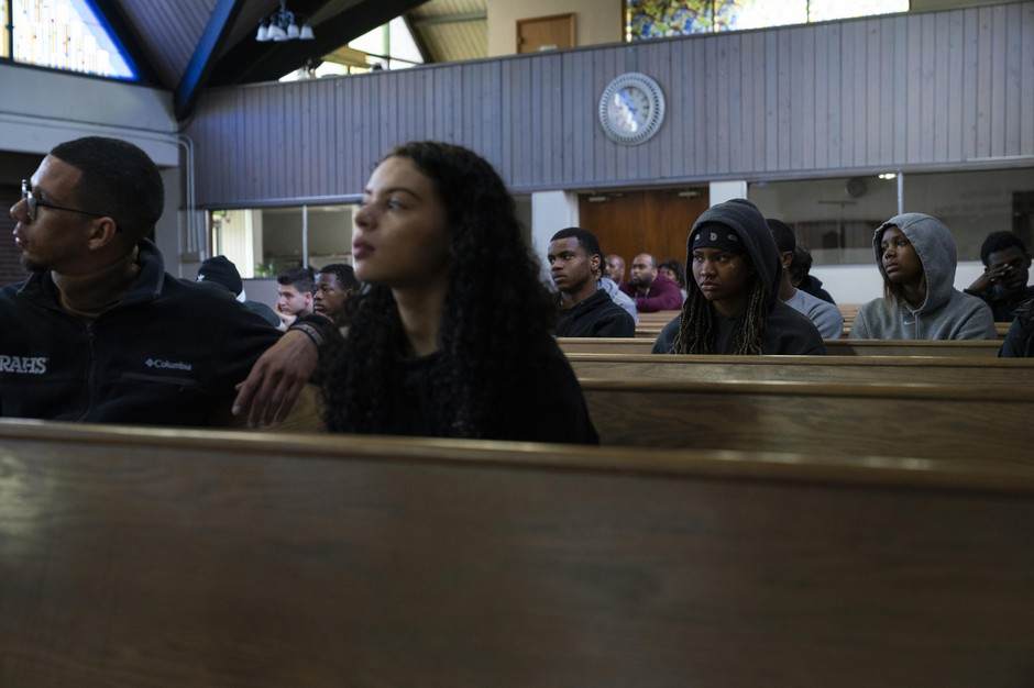 Students from Roosevelt and Jefferson High Schools listen to the Camas High School Men's Choir perform Seven Last Words on April 26, 2019, at the Bethel AME Church in North Portland, Ore.