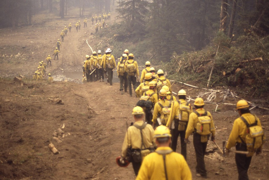 A line of wildland firefighters marches through the woods during the Yellowstone fires of 1988. The massive complex of fires, which burned more than 790,000 acres, was a transformative moment in the country's view ofwildfire.