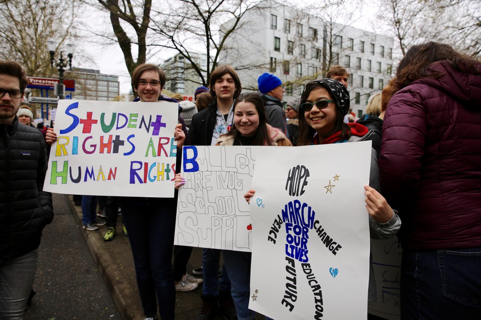 Jessica Mason, 15, Rebekah McLean, 16, and Ridley Liu, 14, at the March For Our Lives in Portland.