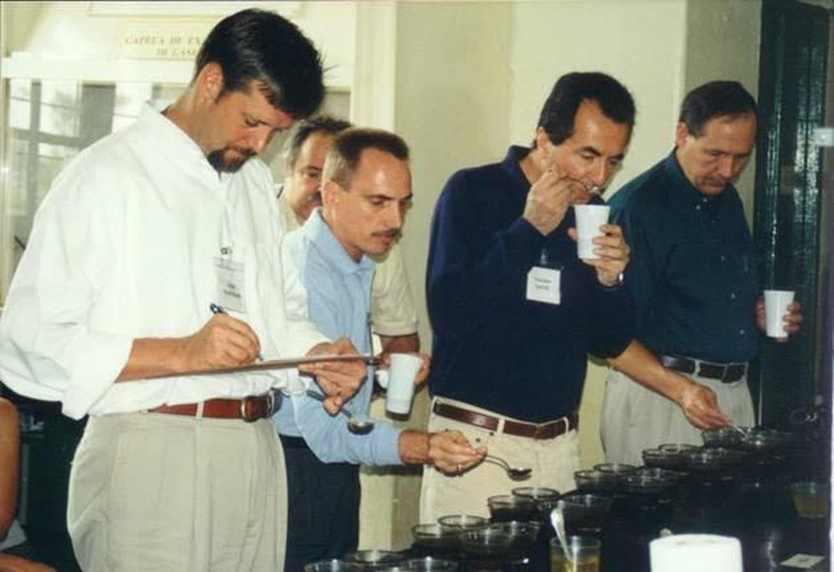 Evaluating coffees at thefirst Cup of Excellence, then dubbed Best of Brazil, in 1999.