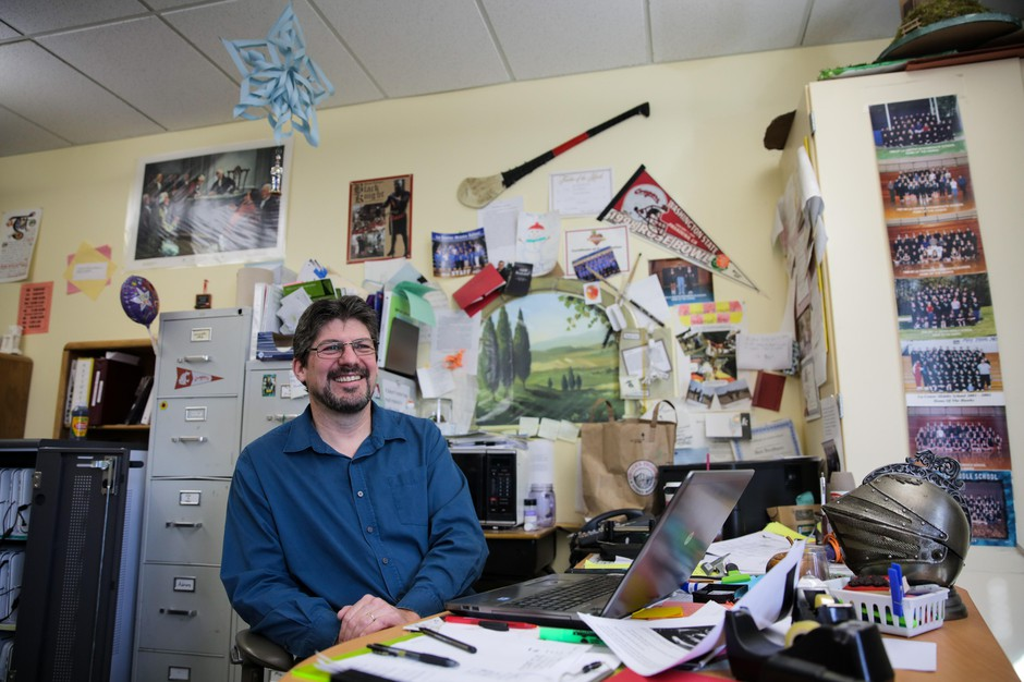 Todd Brothers in his middle school classroom in La Center, Washington. In addition to hurling, Brothers participates in medieval reenactment and armored combat — swordfighting, to the layperson.