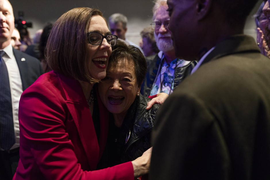 Kate Brown at the Democratic Party of Oregon 2018 election party on November 6, 2018 in Portland, Oregon.