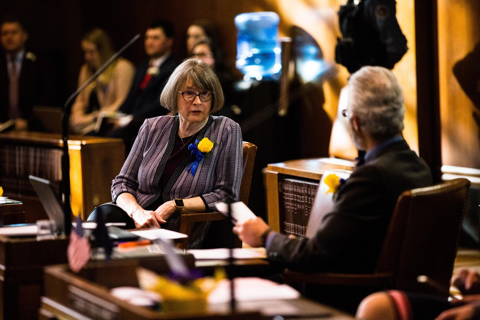 Oregon Sen. Ginny Burdick, D-Portland, speaks with Sen. Floyd Prozanski, D-South Lane and North Douglas counties, on the floor of the state Senate Monday, Jan. 14, 2019, in Salem, Ore.