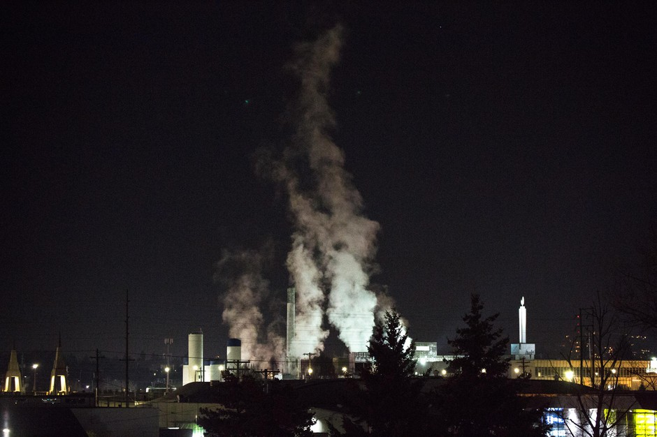 Steam rises from the Darigold facility in Portland, Oregon, Thursday, Feb. 7, 2019.