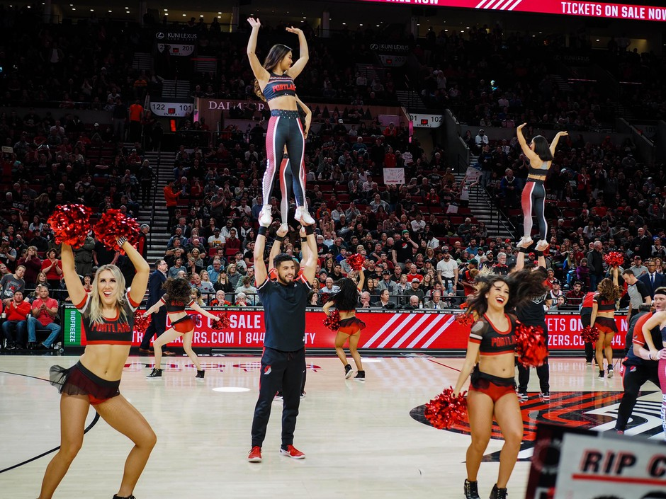 The Blazers Dancers perform during a break in the action at the Moda Center in Portland, Ore., Friday, March 25, 2019.
