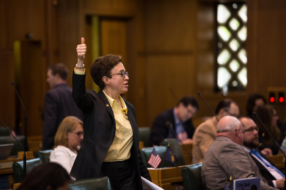 House Speaker Tina Kotek, D-Portland, signals her vote on the House floor at the Capitol in Salem, Ore., Tuesday, April 2, 2019.