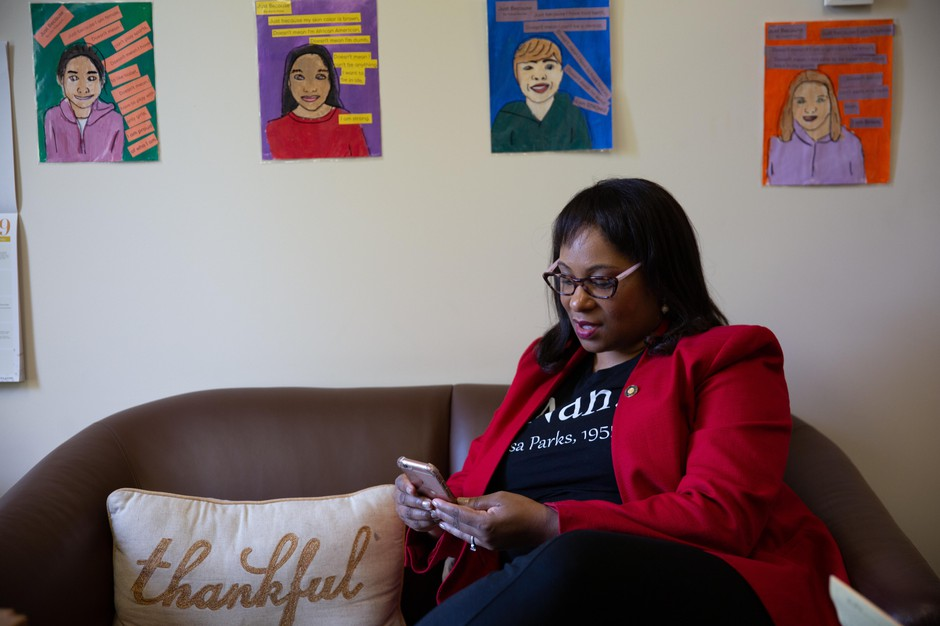 Rep. Janelle Bynum's office is covered with artwork from students around her district.