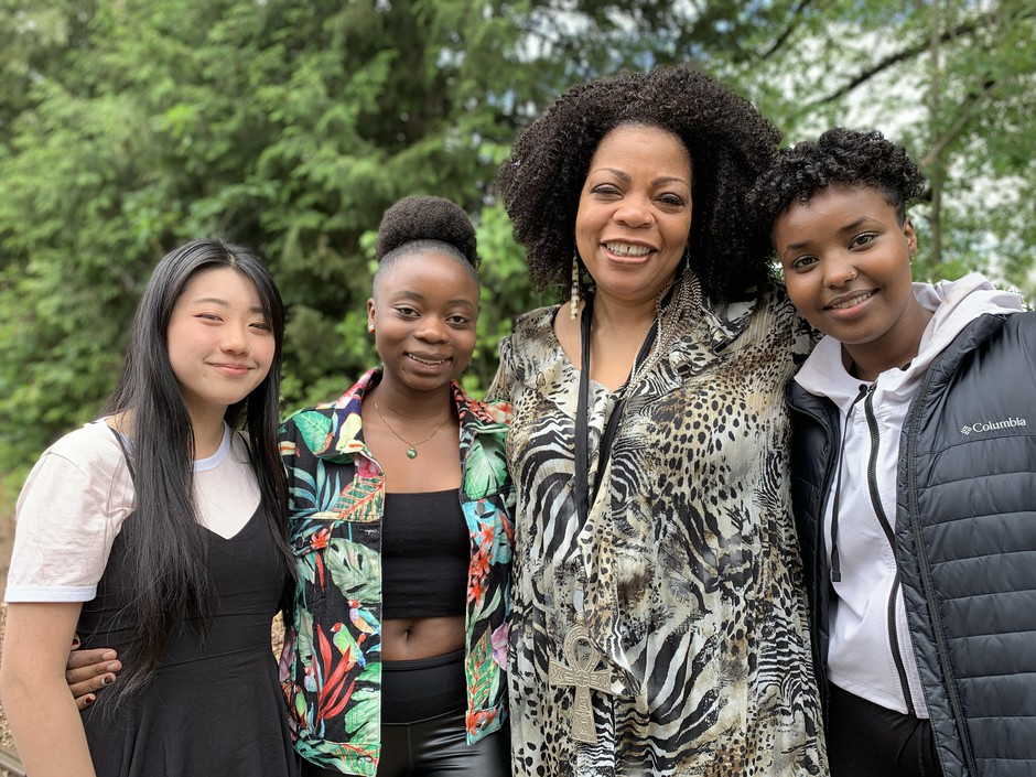 Rose Vue, Lisa Amani, S. Renee Mitchell and Faiza Jama of the I Am M.O.R.E. program, which began at Roosevelt High School to help student tell their stories and overcome trauma.