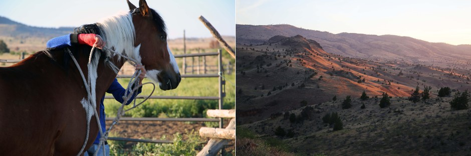 Left: Avan Garcia prepares his horse Blackhat to chase wild horses Saturday, June 22, 2019. Right: Sun rises over the Simnasho area of the Warm Springs Indian Reservation.