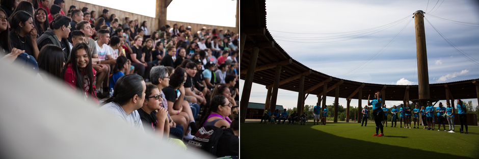 Left: Children sit in the powwow arbor while awaiting the start of Wellness Warrior Camp. Right: Jordan Cocker offers thanks to the Confederated Tribes of Grand Ronde for hosting the camp at their powwow grounds.