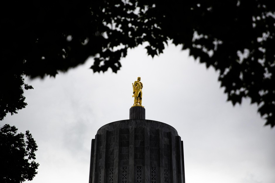 The Oregon Capitol in Salem, Ore., Thursday, Sept. 26, 2019. A new bill passed by the Legislature this summer drastically limits application of the death penalty.