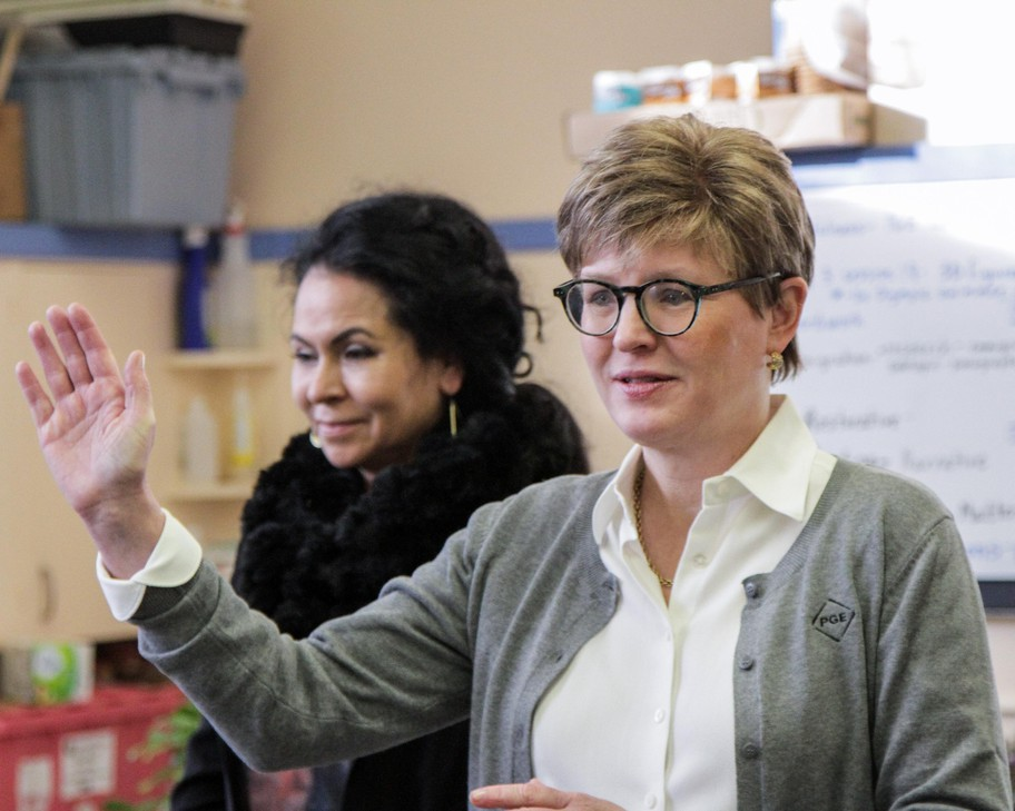 Portland General Electric president Maria Pope announced a $250,000 investment in Portland Public Schools' climate literacy curriculum.