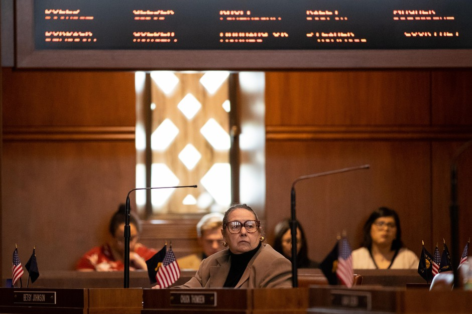 Sen. Betsy Johnson, D-Scappoose, sits in the Senate chambers. Oregon state senators gather in the Senate chambers on Feb. 11, 2020 in Salem, Oregon.