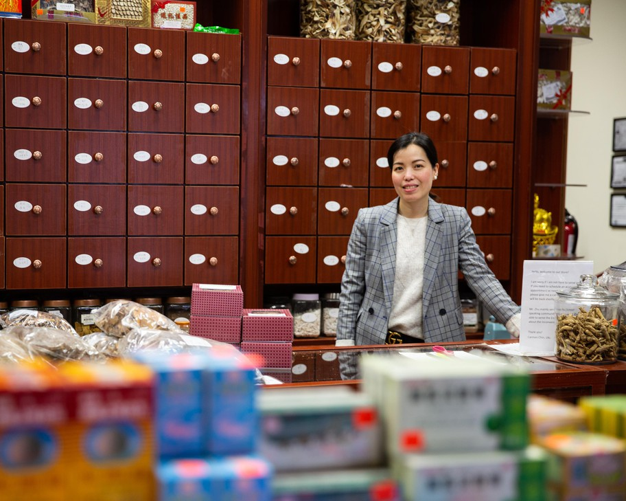 Carmen Chin, who runs Amity Clinic and Yang He Herbal Pharmacy, is pictured in Southeast Portland, Ore., Friday, Feb. 14, 2020.