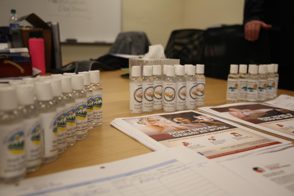 Hand hygiene is central to the messaging for preventing coronavirus spread. Central Oregon public health departments distributed hand sanitizer at a meeting in Bend, Ore., on Monday, March 2, 2020.